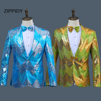 Green Or Blue Gradual Change Sequins Men's Slim Jacket Blazer Nightclub Male Singer Bar Ds Dj Stage Performance Trendy Costume
