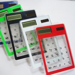 Papelaria calculadora cartão portátil mini handheld ultra-fino calculadora Cartão de Energia Solar calculadora da tela Transparente