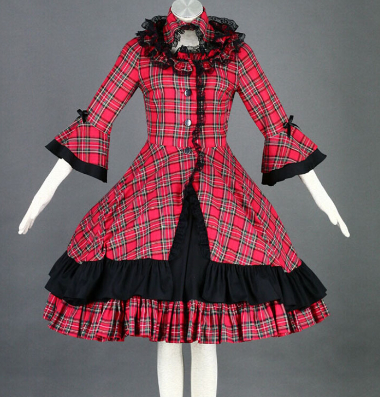 Lolita Classic Plaid Dress Retro Look Ladies Elegant Masquerade Party Dress Vintage on Sale MR0171