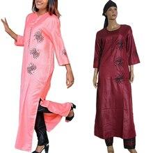 3 peças set 2020 moda de vestuário africano para as mulheres se veste calça cachecol set robe bordado africano roupas bazin riche S2946