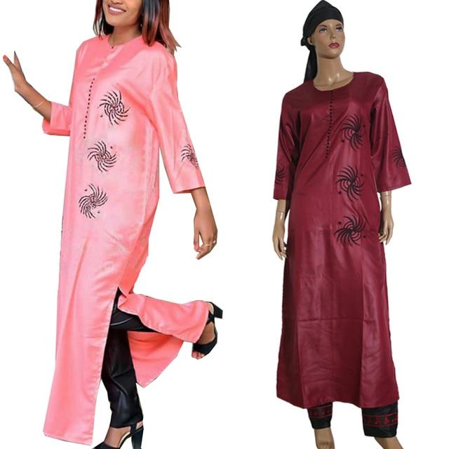 3 pièces ensemble 2020 mode africaine vêtements pour femmes robes pantalon écharpe ensemble bazin riche robe broderie africaine vêtements S2946
