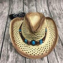 Summer Men Handmake Raffia Hollow Cowboy Hat With Punk Rope Women Western Wide Curling Brim