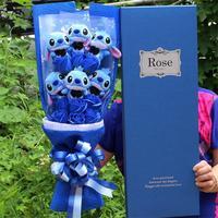 Искусственные милые Мультяшные плюшевые игрушки стежка праздничный Подарочный букет с поддельными цветами на День святого Валентина свад...