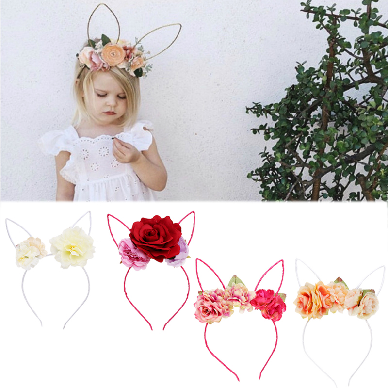 2018 1pc 4 Colors Fabric Rose Flower Hair Hoop Cute Lace Bunny Ears Hair Accessories for Kids Girls   Headwear   Birthday GiftS