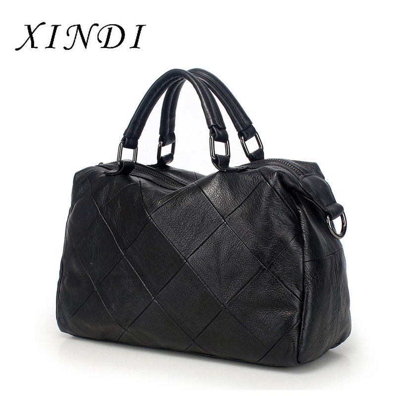 XINDI 2018 Genuine Leather Totes Women Leather Handbag Female Shoulder Bags For Ladies Messenger Bag Large Top-handle Bag new genuine leather totes female shoulder crossbody bags for women leather handbag ladies messenger bag large top handle bag