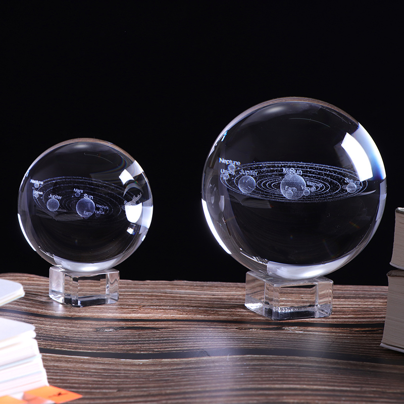 Figurines & Miniatures 60mm 3d Crystal Solar System Ball Planets Glass Ball Laser Engraved Globe Miniature Model Home Decor Astronomy Gift Hot Sale