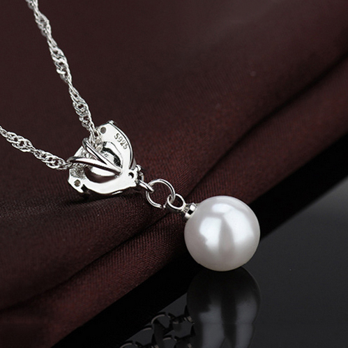 JEXXI Elegant Fashion 925 Sterling Silver Chain Double Pearls Necklace Cubic Zirconia Crystal Necklaces Women Wedding Jewelry