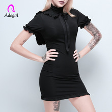 Adogirl Black Gothic Women Dress Summer Casual Fitness Sweet Girl Embroidery Punk Night Club Party Harajuku Mini Dresses