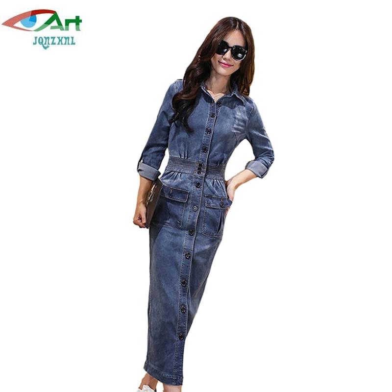 JQNZHNL Women Denim Dress 2017 New Fall Single Breasted Jean Dress Women Cowboy Slim Long Dress Turn Down Collar Maxi Dress E452 denim