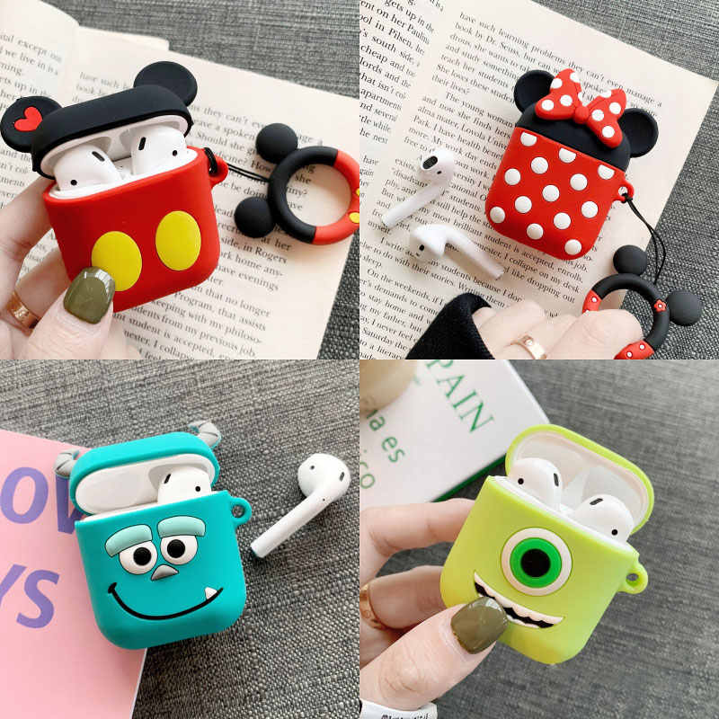 Lucu Kartun Mickey Minnie Silikon Lembut Boneka Case untuk Apple Udara Pods Case Nirkabel Bluetooth Earphone Toy Story Cover Coque
