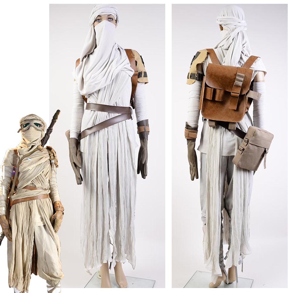 Star Wars Costume Star Wars 7: Force Awakens Rey Cosplay Kostymer för Vuxna Kvinnor Halloween Kostymer