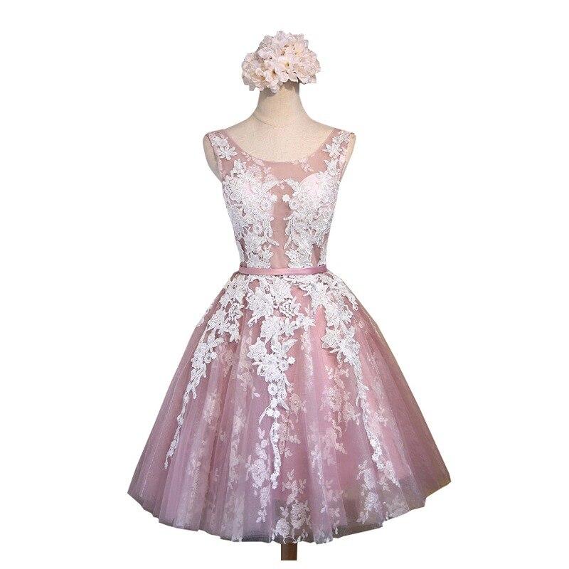 9484bba5eb SSYFashion krótki różowy koronki kwiat bankiet krótkie suknia wieczorowa  panna młoda szczupła Sexy przezroczyste suknia wieczorowa