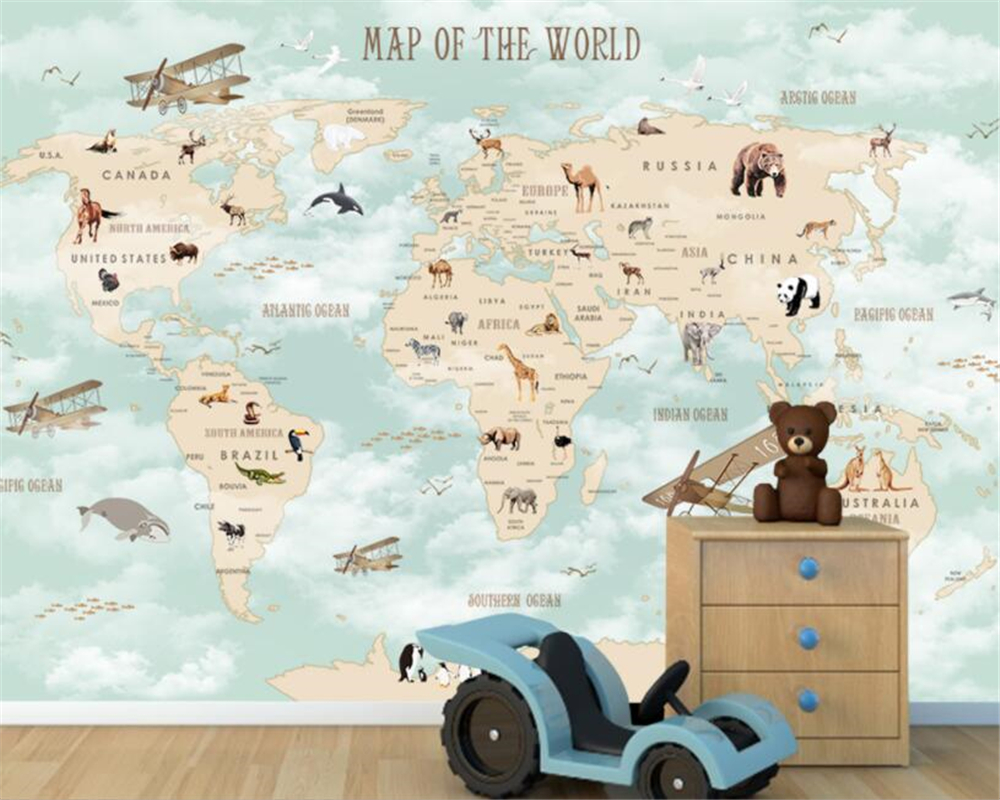 Us 885 41 Offbeibehang Custom Children Room Wall 3d Wallpaper Cartoon Airplane Sailing Animals World Map Background Wall 3d Wallpaper Tapety In