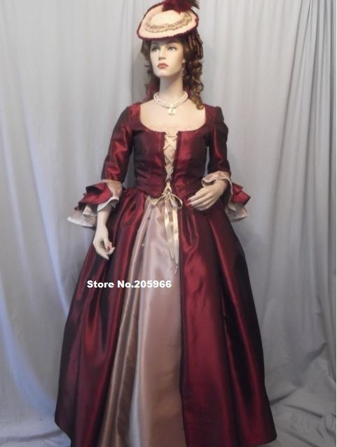 Free Shipping Reproduction 1700s Revolution Georgian era Victorian Ball Gown Vintage Costume font b Event b