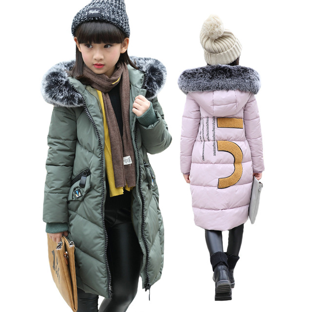 Children Winter Jackets Cotton Padded Coat Girls Fur Hooded Coats Kids Winter Jacket For Girls Clothes Kids Clothing Warm Parkas