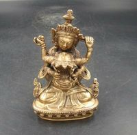 Exquisite Collectible Handmade Carving Buddha India Copper Brass Buddha Statue