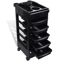 VidaXL 5 Trays Salon Hair Salons Trolley Barber Hairdressing Trolley Hair Rolling Storage Cart Hairdresser Styling Tools