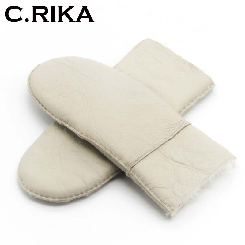 Warm Winter 100% Wool Gloves Manual Brand Fashion Double Buckle Mittens Women Winter Female Sheepskin Fur Women Leather Gloves Available In Various Designs And Specifications For Your Selection Men's Gloves