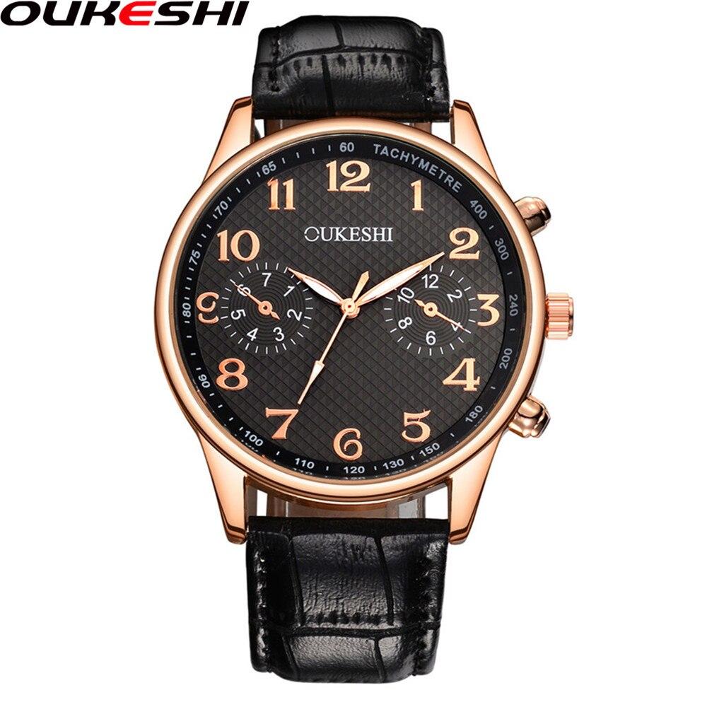 2017 OUKESHI Fashion Watch Top Brand Luxury Leather Men Business Quartz Watch Relogio Masculino OKS49