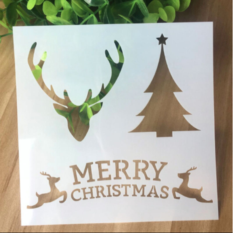1PC Elk And Christmas Tree Shaped Reusable Stencil Airbrush Painting Art DIY Home Decor Scrap Booking Album Crafts Free Shipping