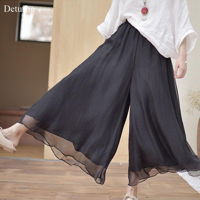 Брюки женские, винтажные, свободные, с высокой талией, из хлопка и льна, PA34|Брюки |   | АлиЭкспресс