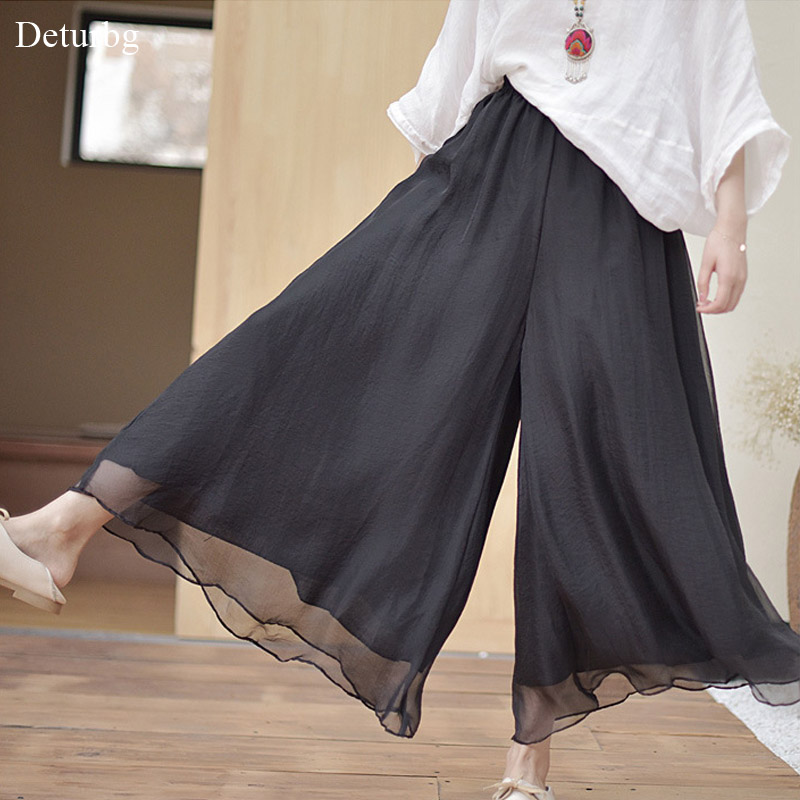 Women S Vintage Chinese Style Wide Leg Pants Female Casual Cotton