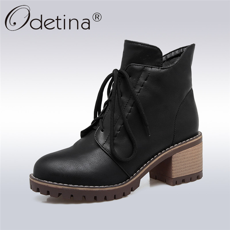 Odetina 2017 New Womens Platform Thick Heel Ankle Boots Chunky Heel Lace Up Booties Side Zipper Autumn Winter Shoes Big Size 43 womens punk ankle boots chunky heels platform side zip leather moto shoes woman high heel thick heel platform motrocycle boot