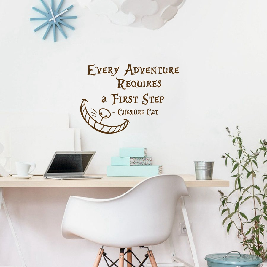 Alice In Wonderland Wall Sticker Quotes Cheshire Cat Every Adventure  Requires A First Step Vinyl Wall Decals Art Home Decortion In Wall Stickers  From Home ... Part 65