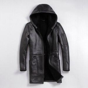 Image 1 - 무료 배송, 겨울 양 모피 코트, 긴 100% shearling, 남자의 따뜻한 가죽 자 켓, 남자의 양 피 플러스 크기 양모 긴 자 켓.