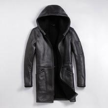 送料無料、冬の羊の毛皮のコート、ロング 100% ムートン、男の革ジャケット、男性のプラスサイズのジャケット。
