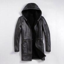 Free shipping,Winter Sheep fur coat,long 100% Shearling,mans warm leather jacket,mens sheepskin plus size wool long jackets.