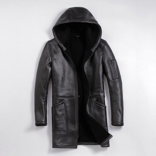 Frete grátis, casaco de pele de ovelha de inverno, longo 100% shearling, casaco de couro quente do homem, pele de carneiro masculina plus tamanho lã casacos longos.