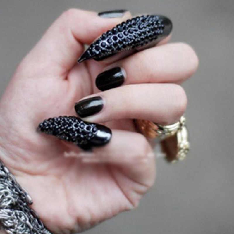 10 ชิ้น/เซ็ตผู้ชายผู้หญิงเล็บปลอมสีดำคริสตัลกรงเล็บ Paw Talon แหวน MSI-19