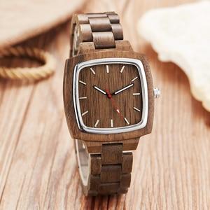 Image 4 - Ahşap sevgili saati erkekler kadınlar Lover hediye bilek saatler erkek kadın kahverengi ceviz ahşap kare Dial kuvars kol saati Reloj saat