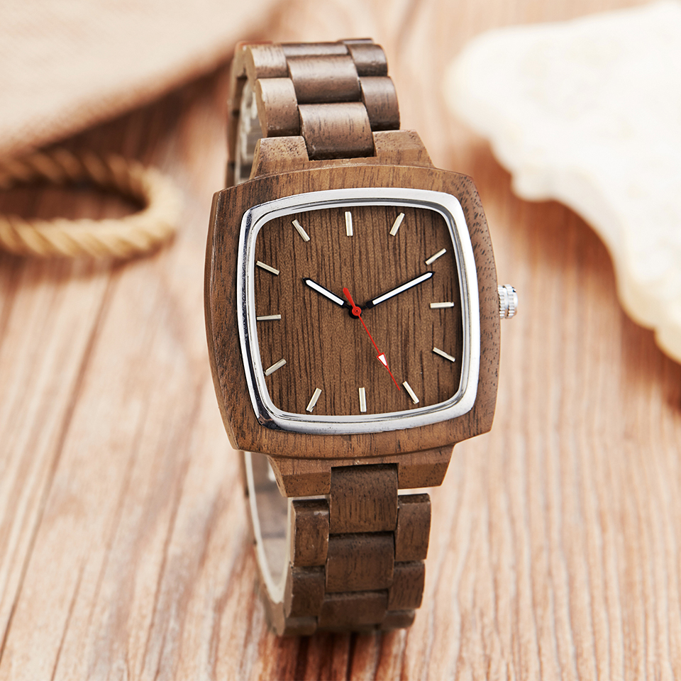 Image 4 - Wooden Couple Watch Men Women Lover Gift Wrist Watches Male Female Brown Walnut Wood Square Dial Quartz Wristwatch Reloj Clock-in Lover's Watches from Watches