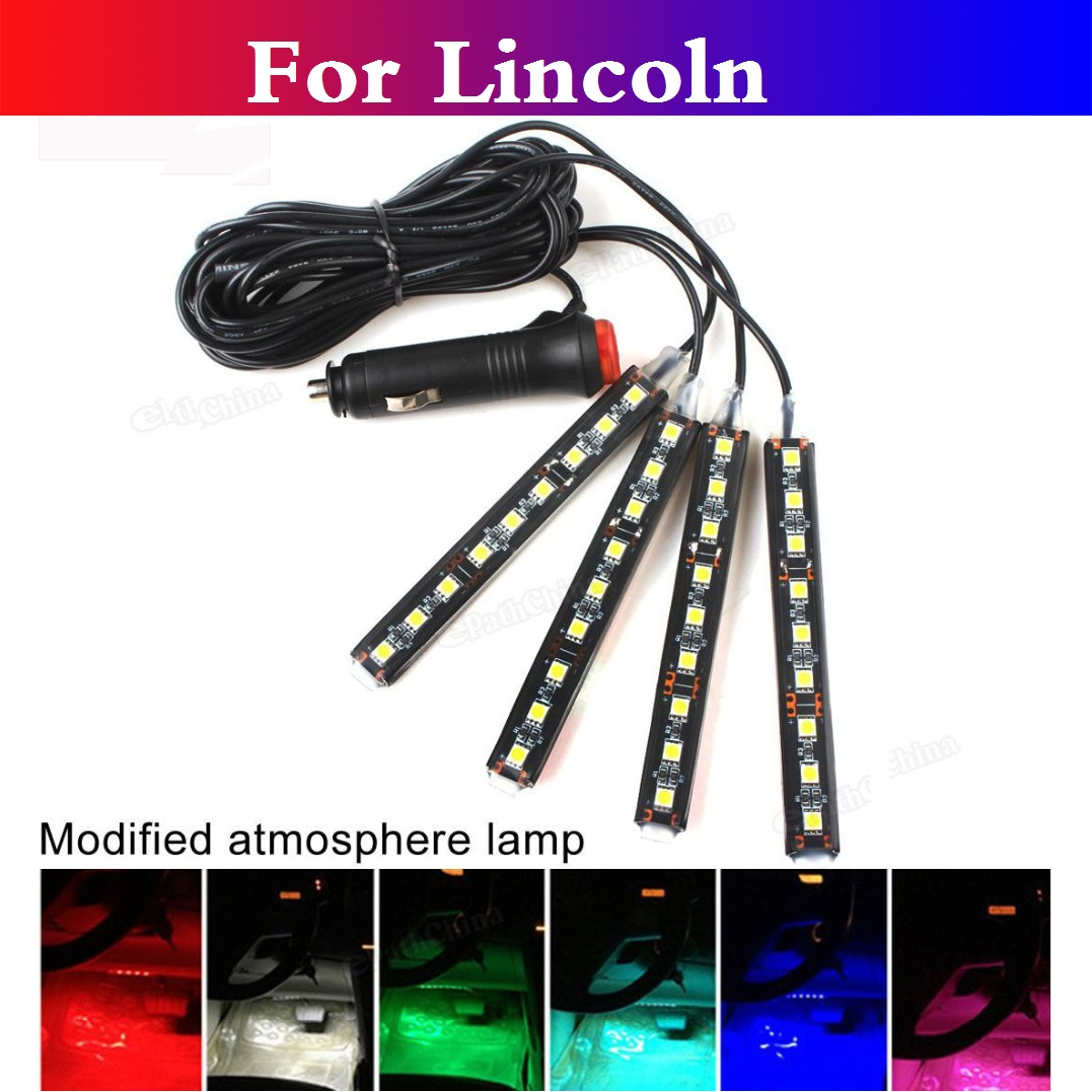 New 4in1 9LEDs Car Neon Light Atmosphere Interior Floor Strip Lamps For Lincoln Aviator LS MKC MKS MKT MKZ Navigator Town Car standing in for lincoln green