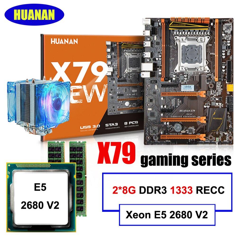 Nouvelle arrivée!!! HUANAN DELUXE X79 LGA2011 carte mère ensemble Xeon E5 2680 V2 RAM 16G (2*8G) DDR3 1333 MHz RECC avec CPU cooler tous test