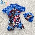 Купальники мальчиков 95-115 СМ мультфильм Капитан Америка купальник ребенка купальники для мальчиков младенческой малыша плавать носит один штук