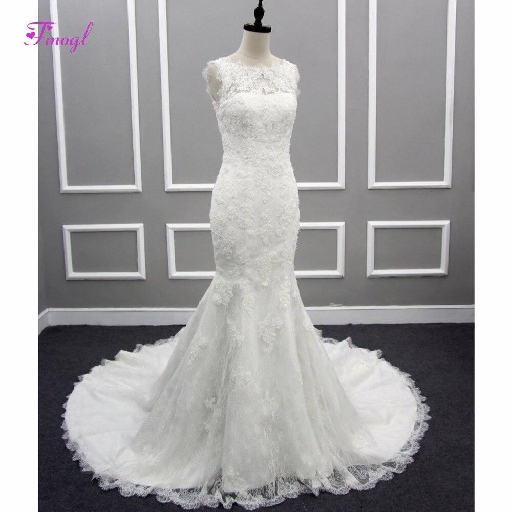Trumpet Wedding Dresses 2019: Fmogl Scoop Neck Appliques Lace Mermaid Wedding Dresses