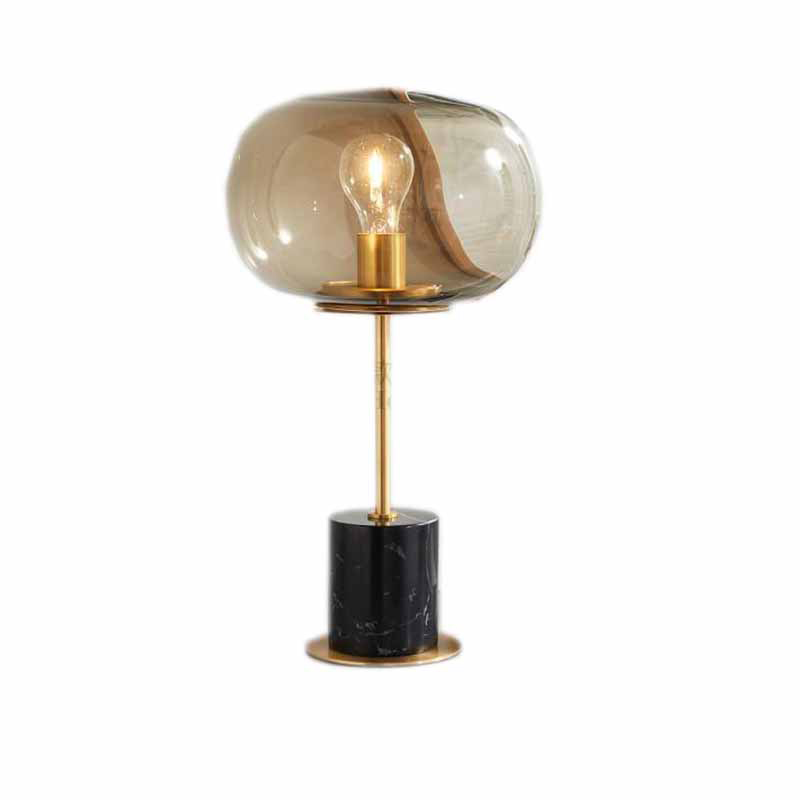 Nordic style simple creative marble bedside gold body desk lamp model room round Clear glass bedroom study decorative LED lamp