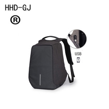 HHD-GJ New Oxford Cloth Backpack Male Bobby Fashion Computer Backpack USB Rechargeable Leisure Anti-theft Solid Color Backpack