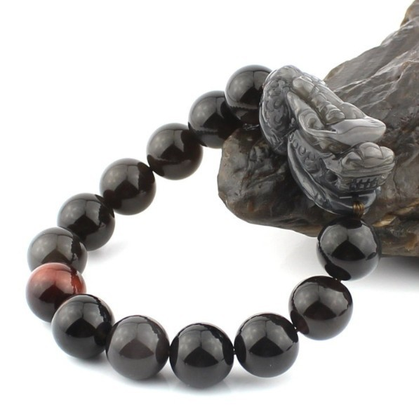 Feng Shui Wealth Pixiu Bracelet Jewelry Lucky Animal Bracelet Man Bracelet Obsidain Piyao Beaded Bracelet Jewelry