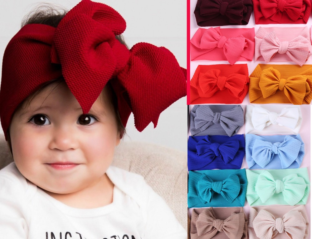 2019 New Infant Baby Oversized Bows Headband Kids 7inch Bowknot Headwrap Children Girls Wide Turban Headwrap Headwear 30pc/lot