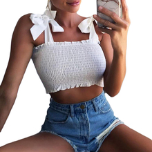 2bc30d050f5 2018 New Summer Backless Sexy Tube Crop top Women Bow Tie Strap Ruched  Casual Ruffle Tank