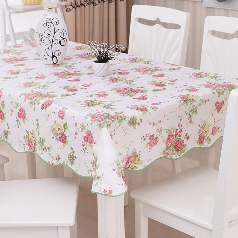 oilproof wipe clean pvc vinyl tablecloth dining kitchen table cover