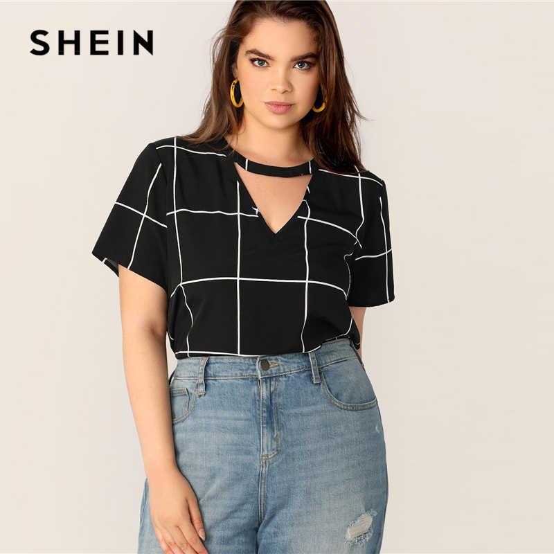 Шеин размера плюс черная Клетчатая блуза с вырезом-лодочкой на спине, Клетчатая блуза 2019, Женская Летняя Повседневная блуза с v-образным вырезом и вырезами на пуговицах