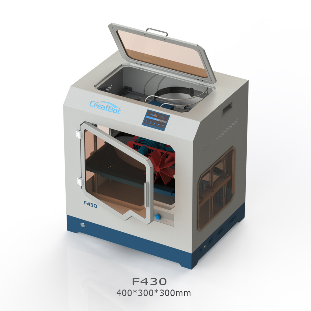 FREE SHIPPING F430 400*300*300MM CreatBot PEEK 3D Printer dual extruder 1.75mm PLA ABS large printing size All Closed Chamber