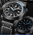 Men Sports Watches Glow Tritium Light H3 Super luminous  WR100M Quartz Sapphire Glass Genuine Leather Strap  Tritium T25 H3
