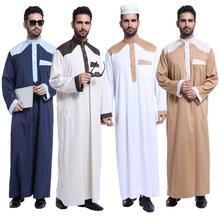 Men Muslim Robes Islamic Clothing Middle East Saudi Arabia Qatar Pakistan Kurta Color Matching