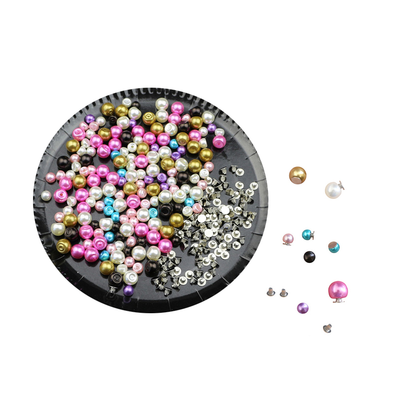 100Sets 6MM/8MM Color Imitation Pearl Rivets Studs DIY Garment Leather Shoes Accessories Beads Spikes Wedding Decor Rivet Pearls